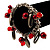 Silver Tone Link Bead Charm Flex Bracelet (Red) - view 2