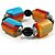 Chunky Multicoloured Resin & Ceramic Bead Flex Bracelet - 19cm Length - view 4