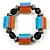 Chunky Multicoloured Resin & Ceramic Bead Flex Bracelet - 19cm Length - view 2