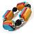 Chunky Multicoloured Resin & Ceramic Bead Flex Bracelet - 19cm Length - view 5