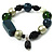 Glass, Ceramic & Plastic Bead Charm Flex Bracelet (Teal, Green & Black)