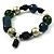 Glass, Ceramic & Plastic Bead Charm Flex Bracelet (Teal, Green & Black) - view 2