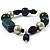 Glass, Ceramic & Plastic Bead Charm Flex Bracelet (Teal, Green & Black) - view 3