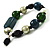 Glass, Ceramic & Plastic Bead Charm Flex Bracelet (Teal, Green & Black) - view 4