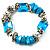 Light Blue Semiprecious Nugget & Silver Tone Metal Link Flex Bracelet - 18cm Length