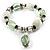 Pale Green & Milk White Resin & Glass Charm Flex Bracelet (Silver Tone)