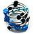 Silver-Tone Glass Bead Coil Bracelet (Black, Aqua & Sky Blue)