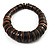 Button Shape Wood Flex Bracelet (Dark Brown & Black)