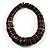 Button Shape Wood Flex Bracelet (Dark Brown & Black) - view 2