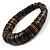 Button Shape Wood Flex Bracelet (Dark Brown & Black) - view 3