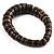 Button Shape Wood Flex Bracelet (Dark Brown & Black) - view 4