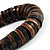 Button Shape Wood Flex Bracelet (Dark Brown & Black) - view 5