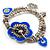 2-Strand Blue Floral Charm Bead Flex Bracelet (Antique Silver Tone)