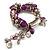 Lilac Glass Bead Charm Flex Bracelet (Silver Tone) - view 5