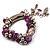 Lilac Glass Bead Charm Flex Bracelet (Silver Tone) - view 3