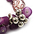 Lilac Glass Bead Charm Flex Bracelet (Silver Tone) - view 4