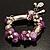 Lilac Glass Bead Charm Flex Bracelet (Silver Tone) - view 7