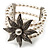 3 Strand Imitation Pearl Floral Flex Bracelet (Silver Tone) - view 6
