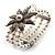 3 Strand Imitation Pearl Floral Flex Bracelet (Silver Tone) - view 10