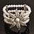 3 Strand Imitation Pearl Floral Flex Bracelet (Silver Tone)