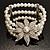 3 Strand Imitation Pearl Floral Flex Bracelet (Silver Tone) - view 3