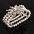 3 Strand Imitation Pearl Floral Flex Bracelet (Silver Tone) - view 2