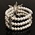 3 Strand Imitation Pearl Floral Flex Bracelet (Silver Tone) - view 4