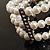 3 Strand Imitation Pearl Floral Flex Bracelet (Silver Tone) - view 7