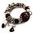 Silver Tone Burgundy & White Glass Bead Charm Flex Bracelet