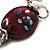 Silver Tone Burgundy & White Glass Bead Charm Flex Bracelet - view 3