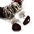 Silver Tone Burgundy & White Glass Bead Charm Flex Bracelet - view 4