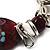 Silver Tone Burgundy & White Glass Bead Charm Flex Bracelet - view 5