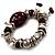Silver Tone Burgundy & White Glass Bead Charm Flex Bracelet - view 6