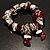 Silver Tone Burgundy & White Glass Bead Charm Flex Bracelet - view 2
