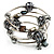 Silver-Tone Beaded Multistrand Flex Bracelet (Dark Grey) - view 2