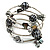 Silver-Tone Beaded Multistrand Flex Bracelet (Dark Grey)