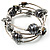 Silver-Tone Beaded Multistrand Flex Bracelet (Dark Grey) - view 4