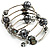 Silver-Tone Beaded Multistrand Flex Bracelet (Dark Grey) - view 6