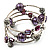 Silver-Tone Beaded Multistrand Flex Bracelet (Purple) - view 8