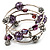 Silver-Tone Beaded Multistrand Flex Bracelet (Purple) - view 9