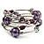 Silver-Tone Beaded Multistrand Flex Bracelet (Purple) - view 5