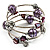 Silver-Tone Beaded Multistrand Flex Bracelet (Purple) - view 2