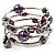 Silver-Tone Beaded Multistrand Flex Bracelet (Purple)