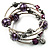 Silver-Tone Beaded Multistrand Flex Bracelet (Purple) - view 10