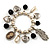 'Cameo, Feather, Heart & Simulated Pearl Beads' Charm Flex Bracelet (Silver Tone) - view 1
