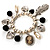 'Cameo, Feather, Heart & Simulated Pearl Beads' Charm Flex Bracelet (Silver Tone) - view 2