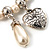 'Cameo, Feather, Heart & Simulated Pearl Beads' Charm Flex Bracelet (Silver Tone) - view 6
