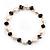 Light Cream Freshwater Pearl & Purple Glass Bead Flex Bracelet -19cm Length - view 2