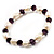 Light Cream Freshwater Pearl & Purple Glass Bead Flex Bracelet -19cm Length