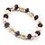 Light Cream Freshwater Pearl & Purple Glass Bead Flex Bracelet -19cm Length - view 9